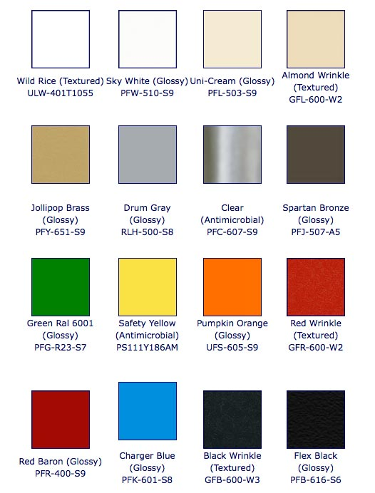 """You are here: Home > Custom Fabrication > Color Powder Coating"""" title=""""You are here: Home > Custom Fabrication > Color Powder Coating""""/></p> <p class="""